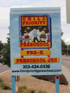 Child Priority Preschool Front Sign